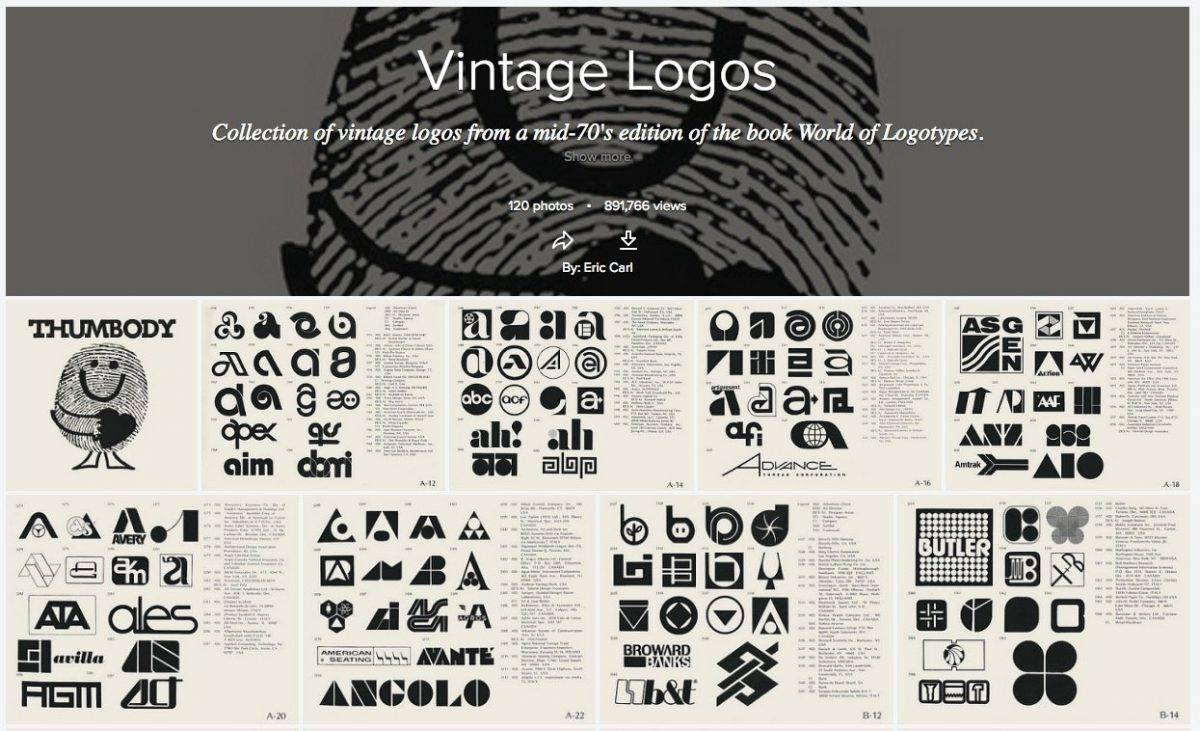Collection of vintage logos from a mid-70's edition of the book World of Logotypes.