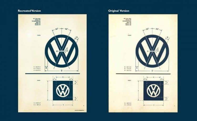 Recreated Vintage VW Logo Specifications Poster for Download