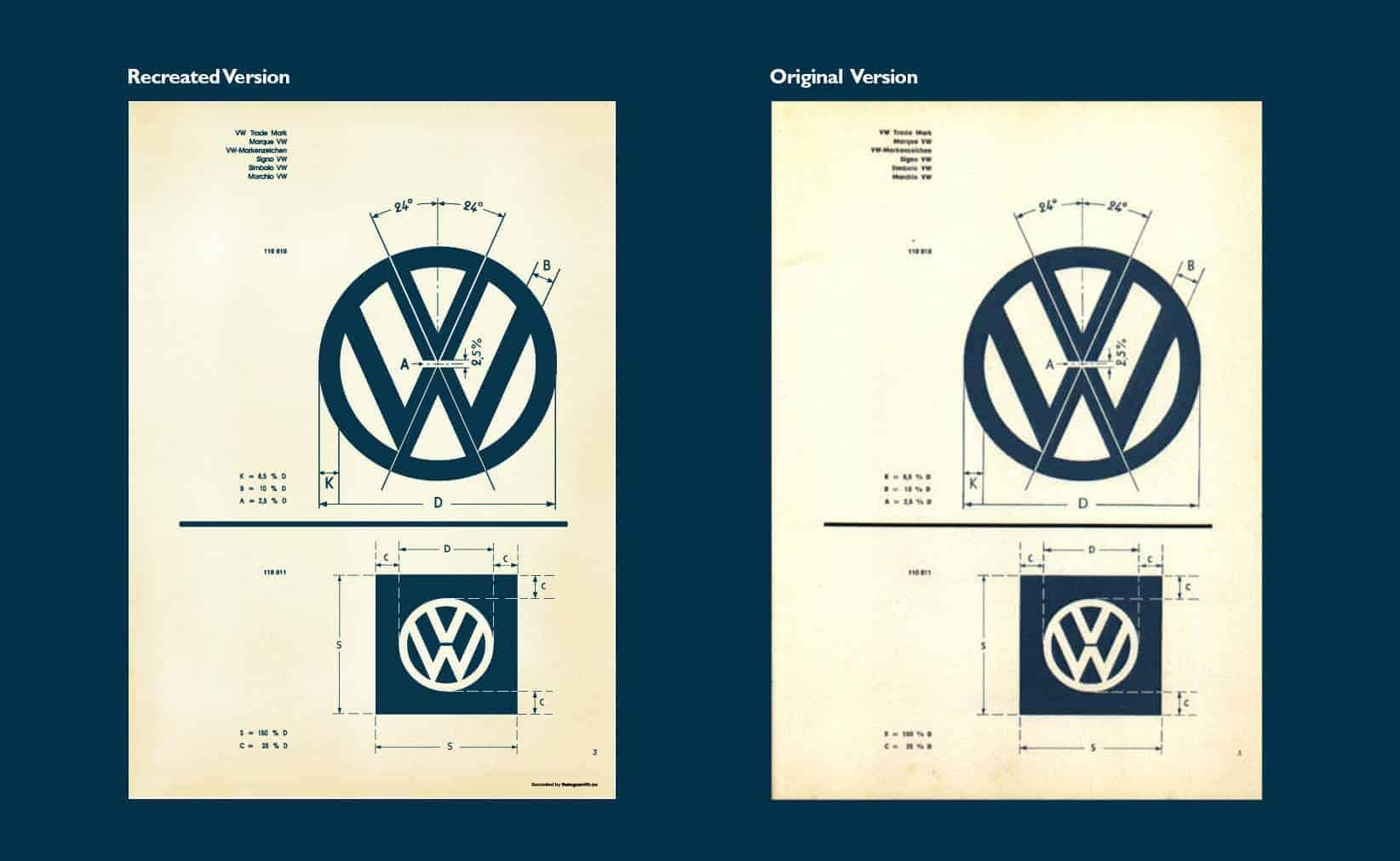 Vintage VW Logo Specification Poster