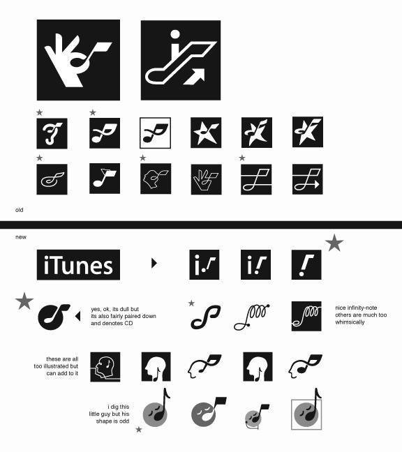 Early Nixed Ideas for the iTunes Icon by Felix Sockwell circa 2004