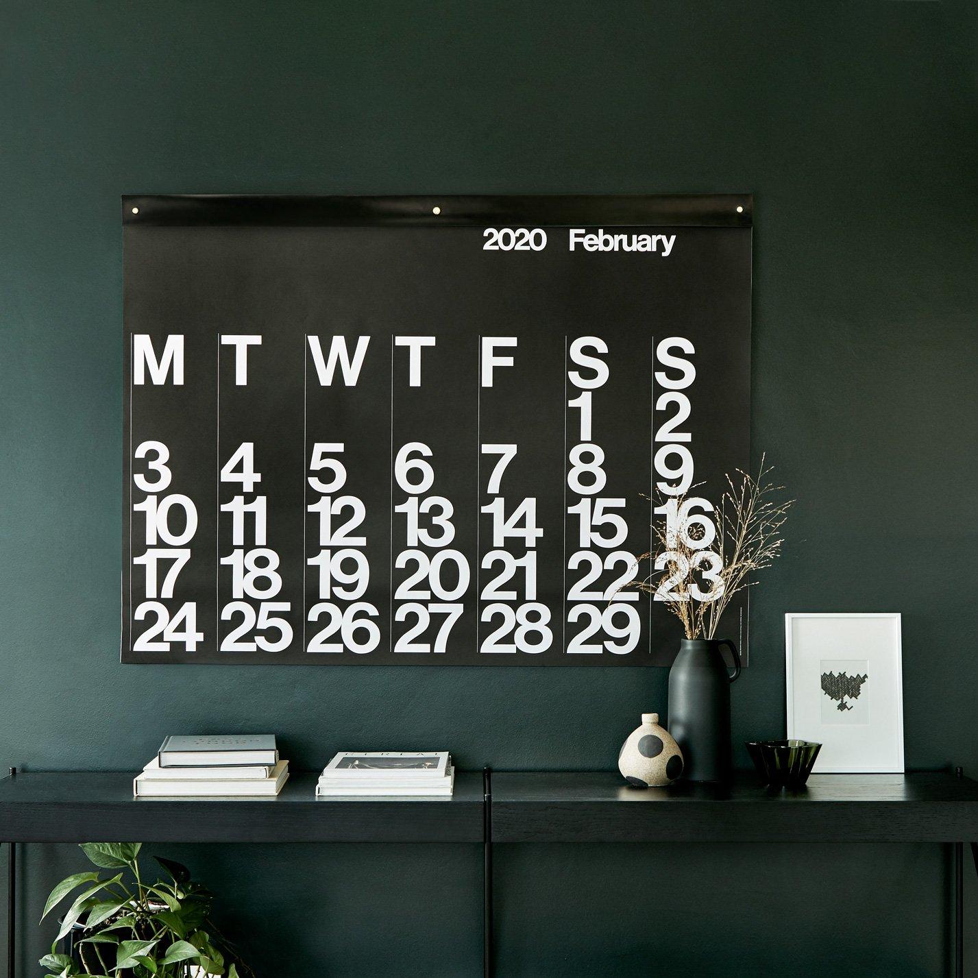 Stendig Calendar 2020 Black created by Massimo Vignelli