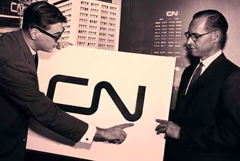 Allan Fleming Presenting The CN Canadian National Railway Company Logo Design