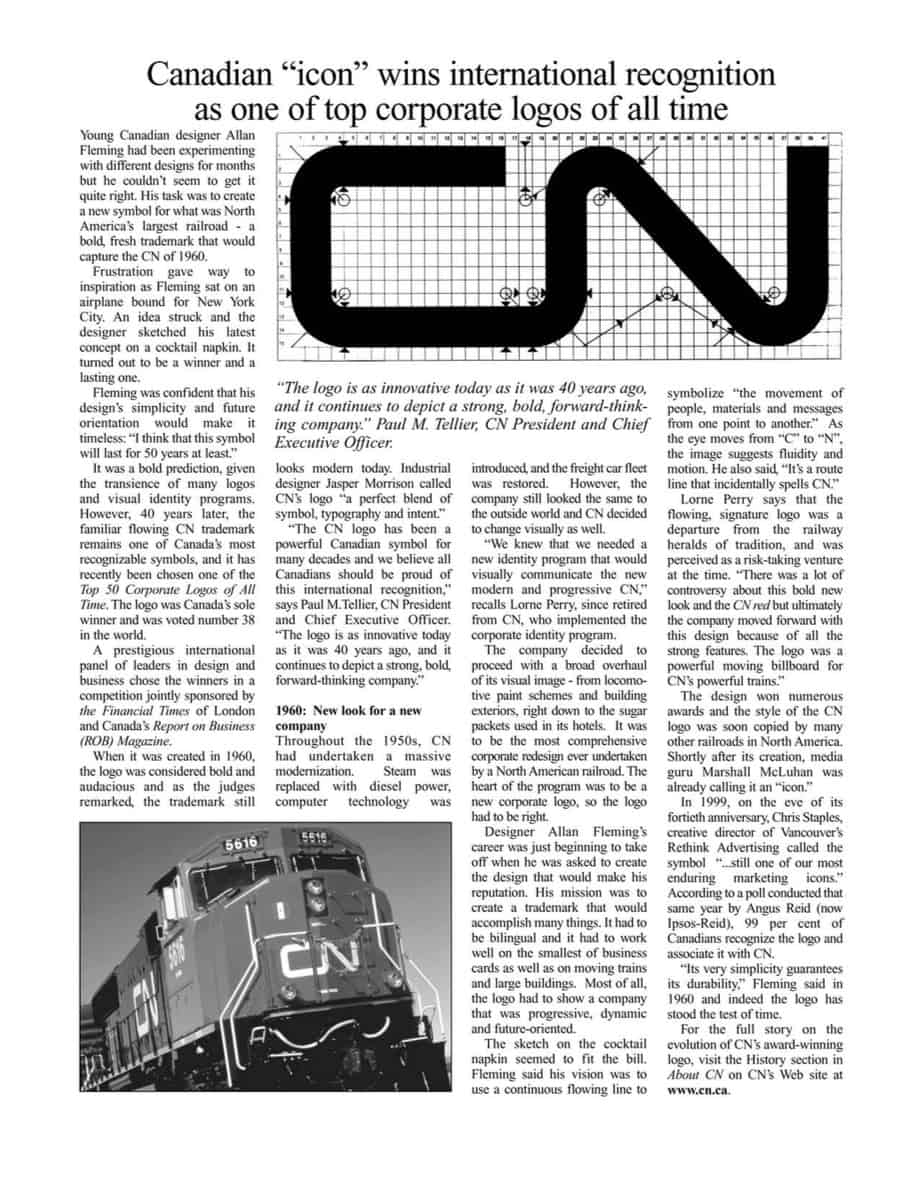 CN Logo Newspaper by Allan Fleming