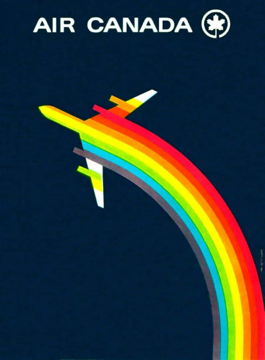 Air Canada Poster - Vintage 1960's Promotional Rainbow Poster Design