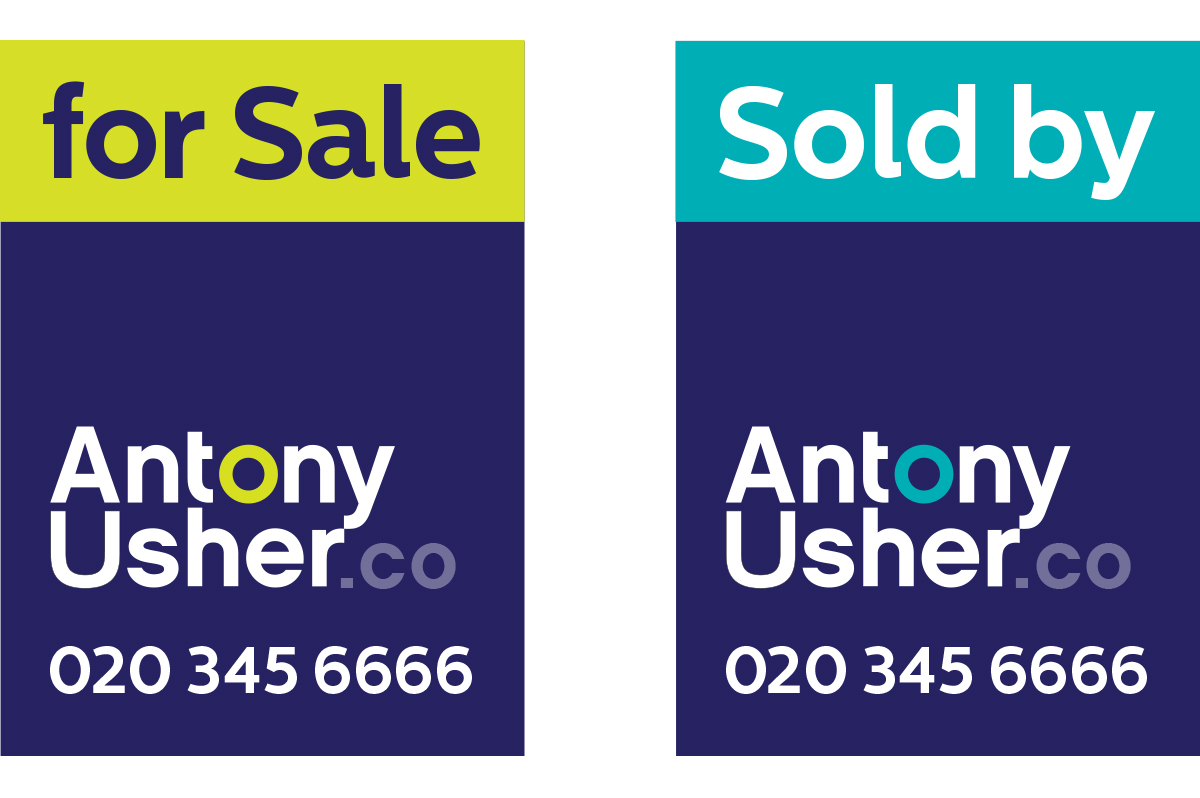 For Sale Sold Sign: Antony Usher Logo & Brand Identity Designed By The Logo Smith