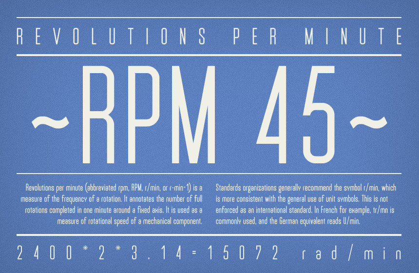 RPM 45 free font from infamous foundry
