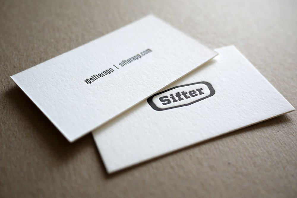 Sifter letterpress business cards printed by hobanpress sifter letterpress business cards i reheart Images