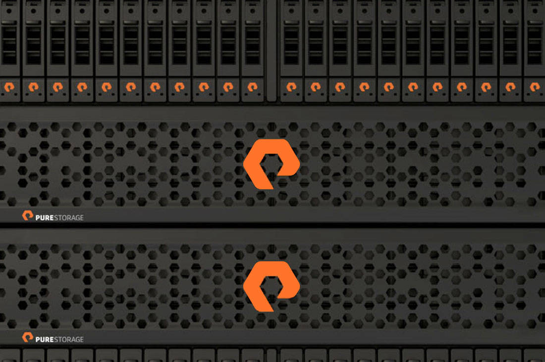 The PureStorage Logo on a Flash Array
