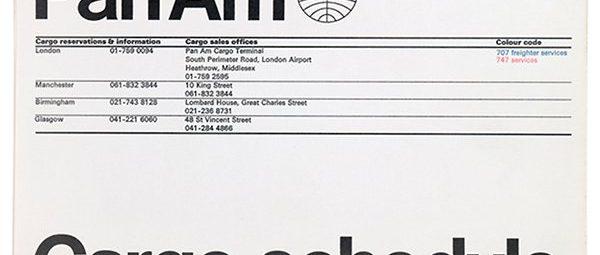 PanAm Cargo Schedule Leaflet designed by Alan Fletcher