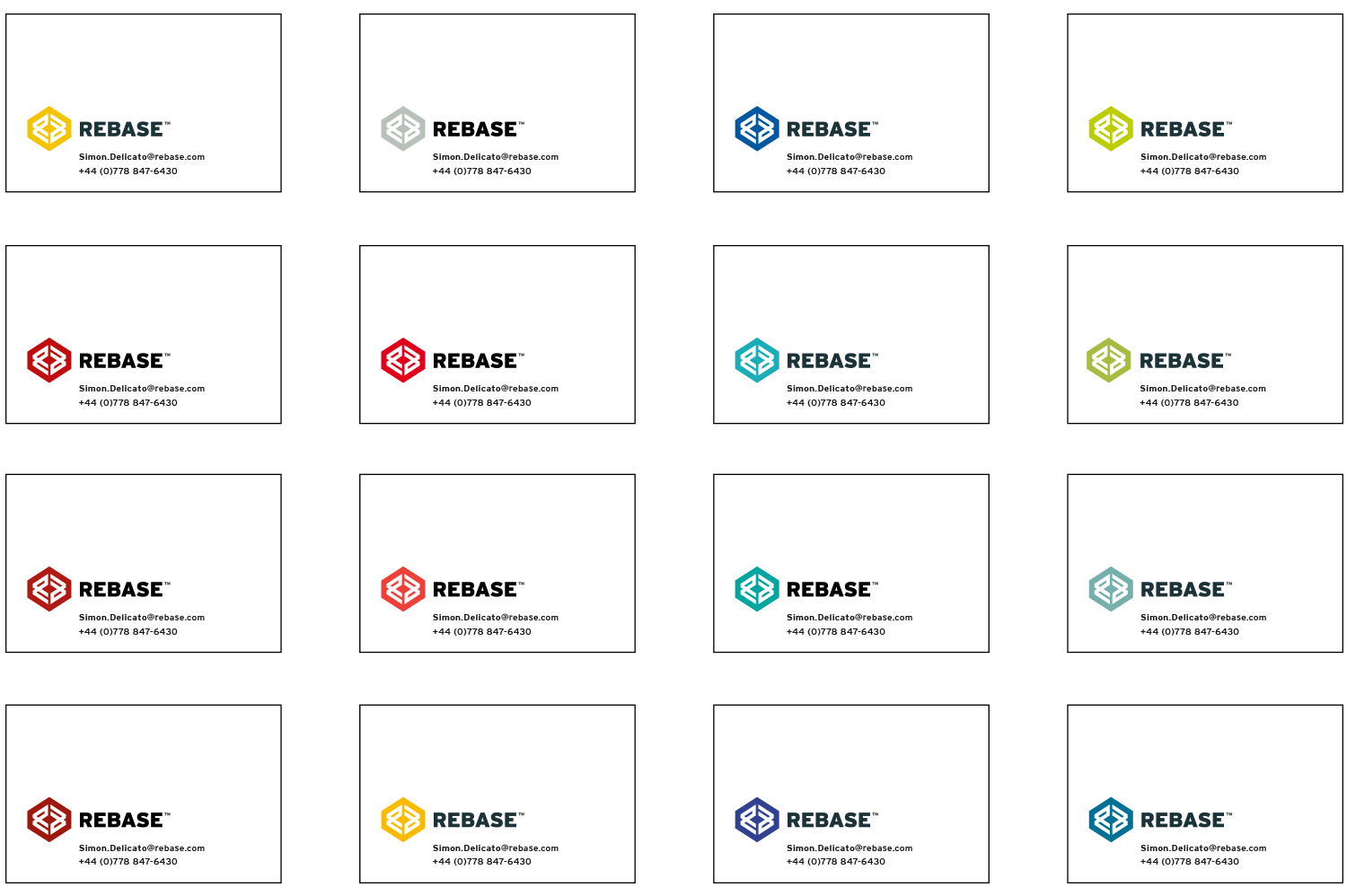 ReBase Business Card Colour Options