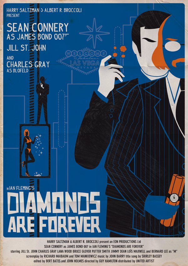 Diamonds are forever James Bond Poster
