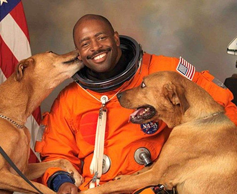NASA Astronaut Leland D Melvin With Dogs Jake and Scout