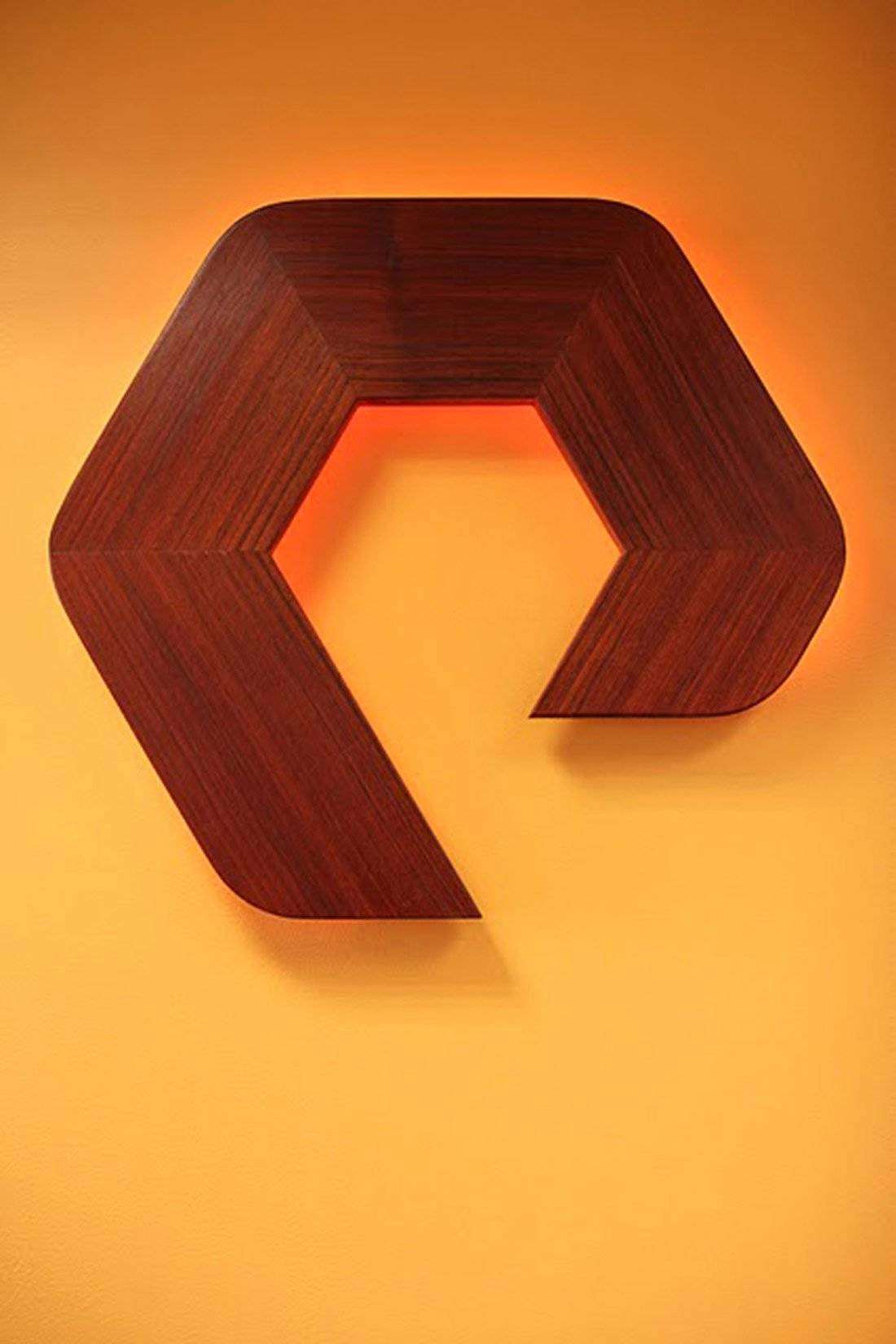 purestorage backlit wood logo sign