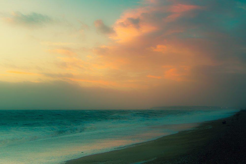Hazy-Evening-Sun-Seaford-Beach-Low-Res-Photograph