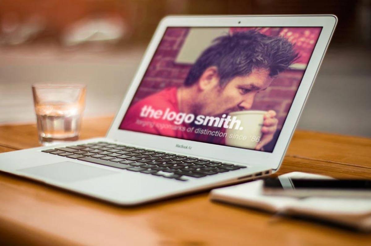 The Logo Smith Logo Design on Laptop