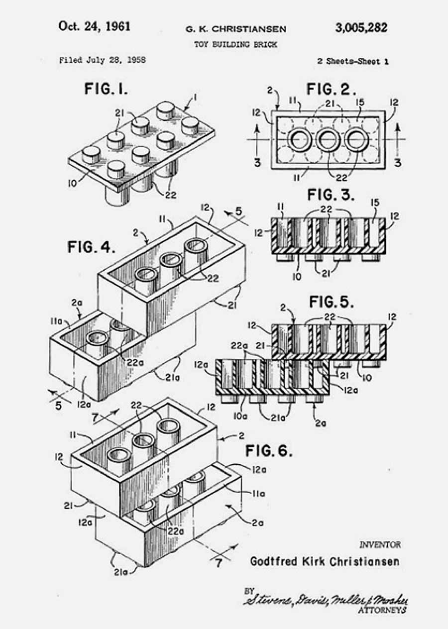 THe originalpatent for the lego brick by Ole Kirk Christiansen