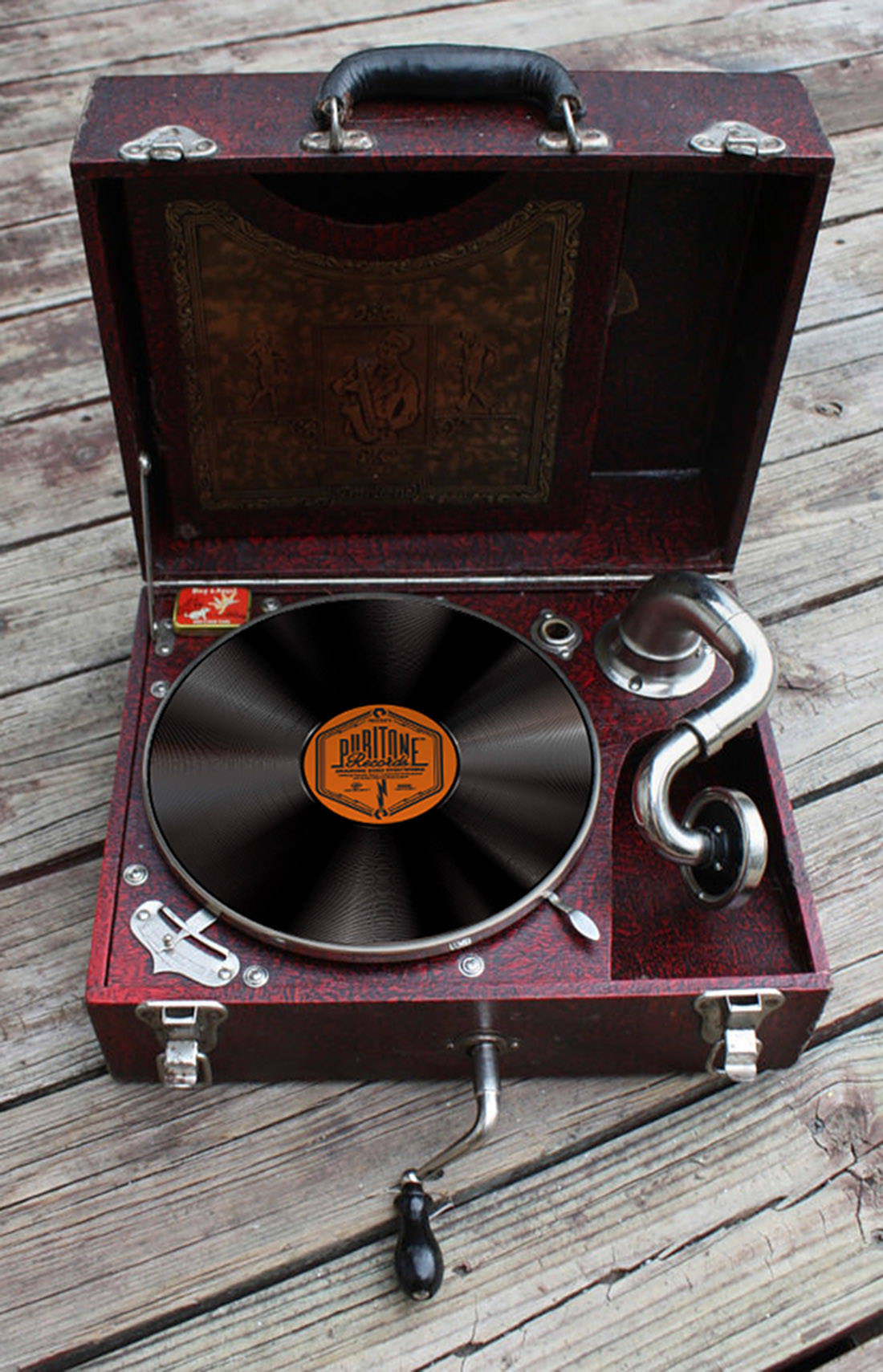 PURITONE Portable Phonograph Gramophone Record Player