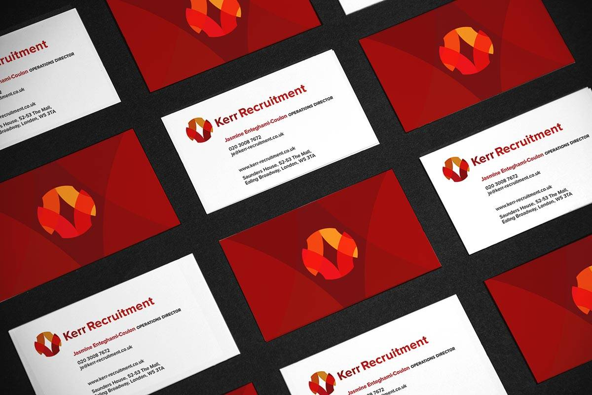 Kerr Recruitment Logo and Brand Identity Design Business Cards