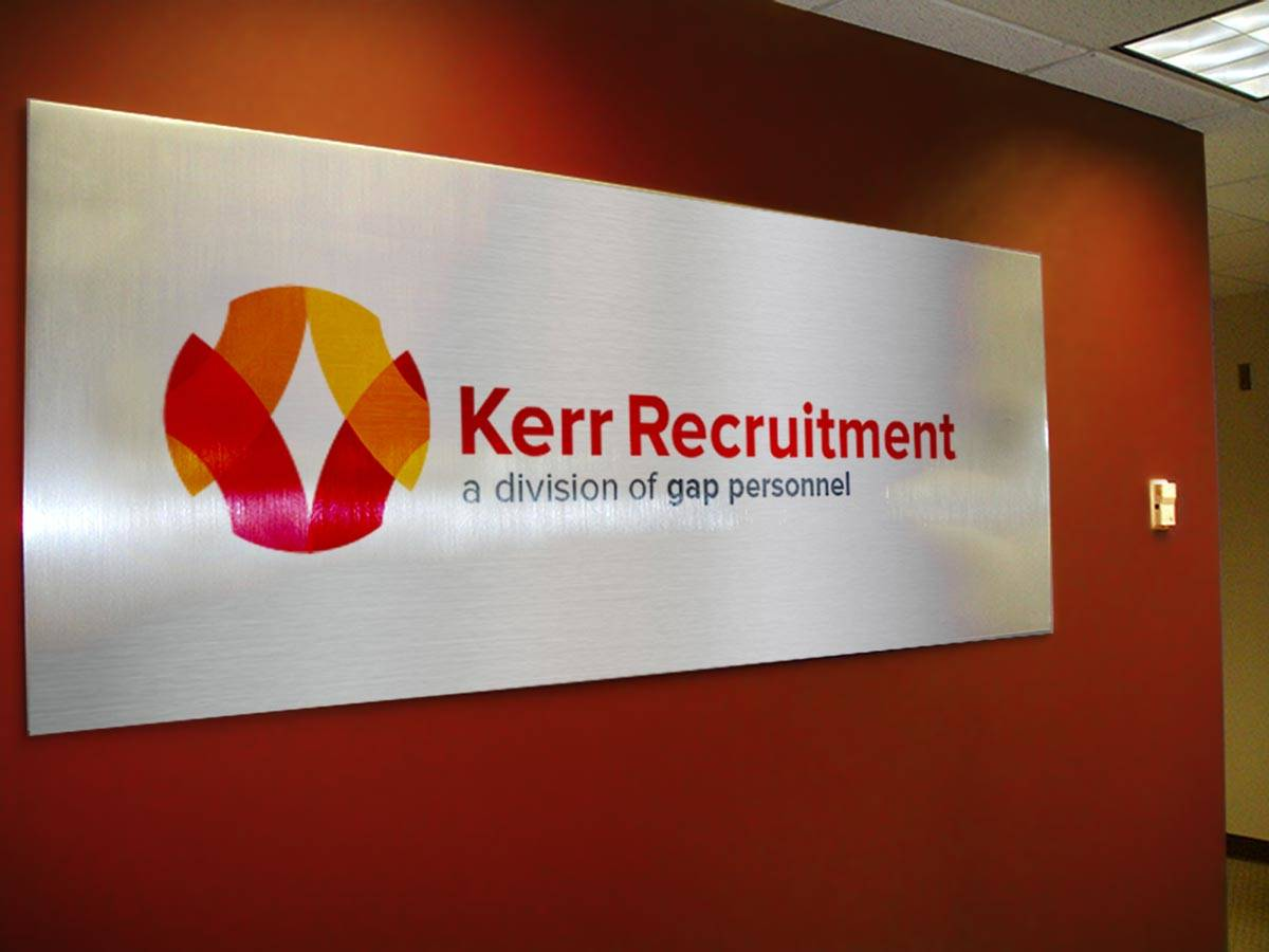 Kerr Recruitment Logo and Brand Identity Design Interior Sign