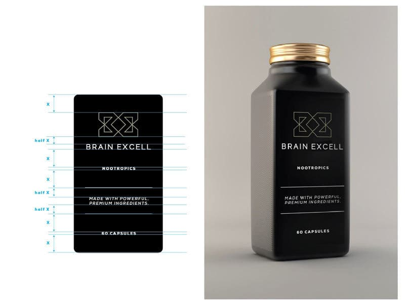 brain-excell-logo-design-and-bottle-packagnig-nootropics
