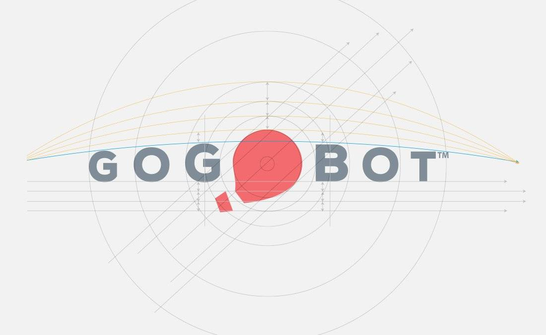 Gogobot Concept Logo Design with Guides by The Logo Smith