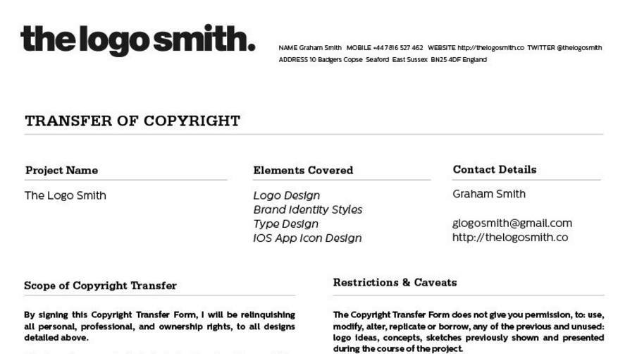 Logo design copyright transfer form template for download for Copyright template for book