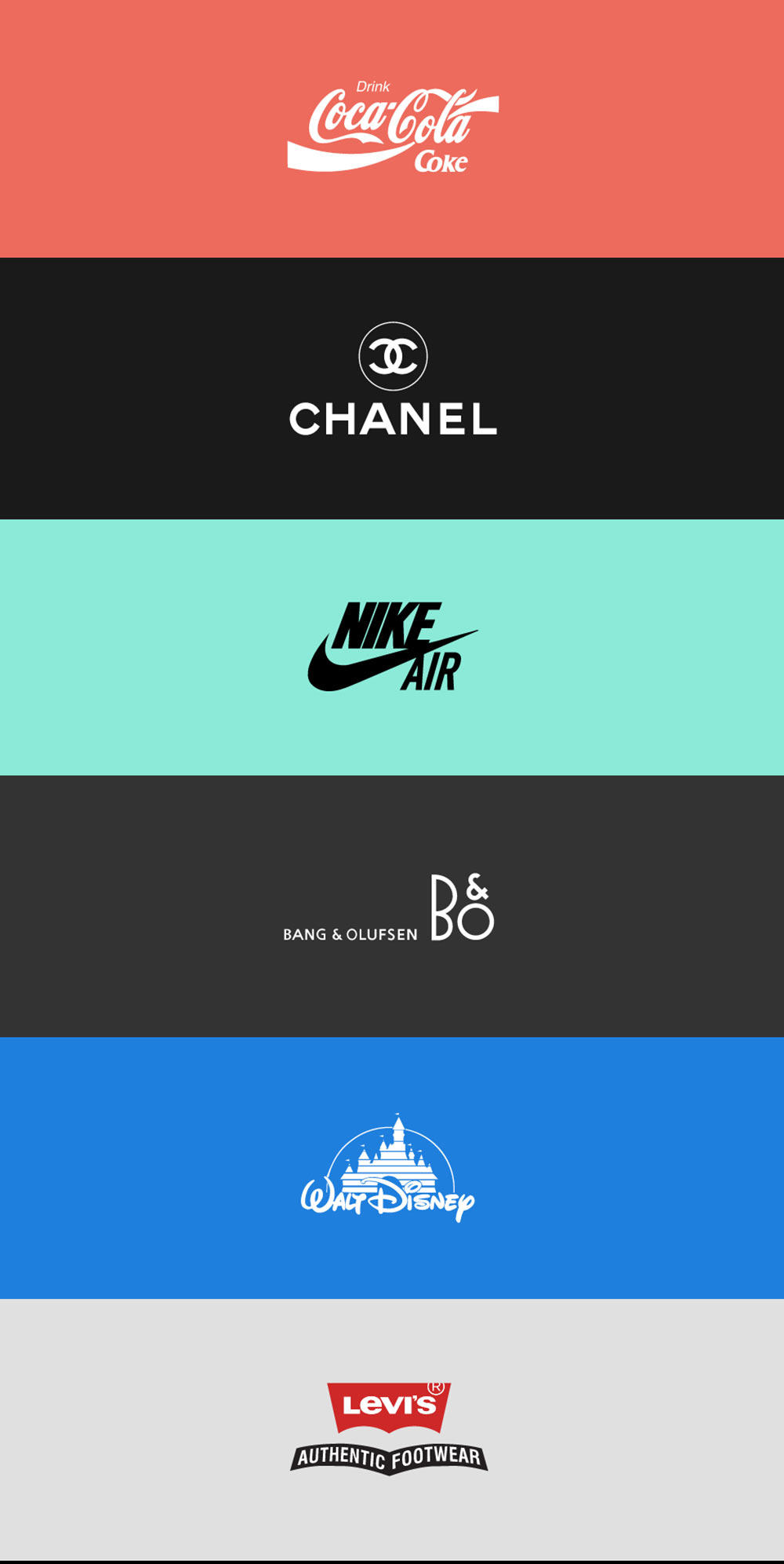 Responsive Logo Designs: Chanel, Coca Cola, Nike Air, Bang & Olufsen, Disney