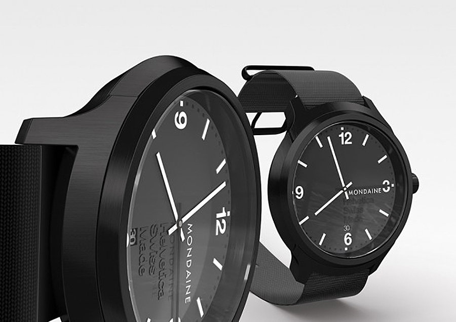 The No. 1 Helvetica Black Face Watch by Mondaine