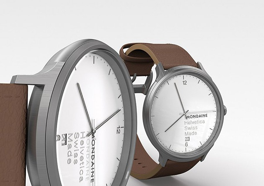 The No. 1 Helvetica White Face Watch by Mondaine
