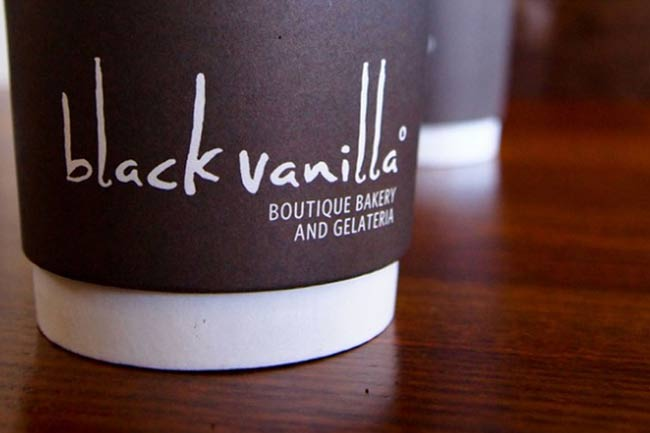 Black Vanilla Coffee Shop Logo and Brand Identity Design by The Logo Smith