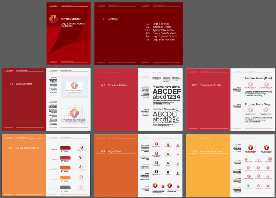 14-16 Page Logo & Brand Identity Guidelines Template based on Kerr recruitment