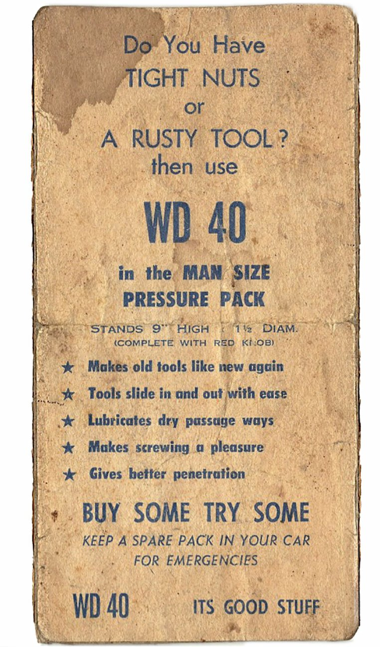 Neu TIGHT NUTS or A RUSTY TOOL? WD 40 Vintage Advert MX99