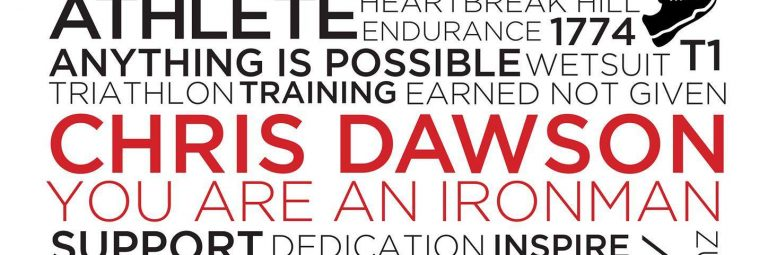 Outlaw (IronMan) Triathlon Personalised Typographic Posters by Andrianna Curtis