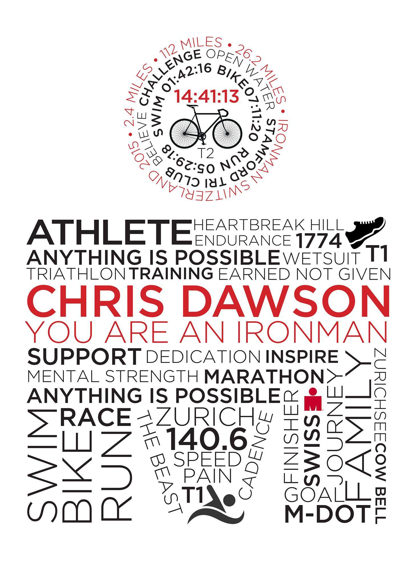 Outlaw Triathlon (IronMan) Personalised Typographic Posters by Andrianna Curtis