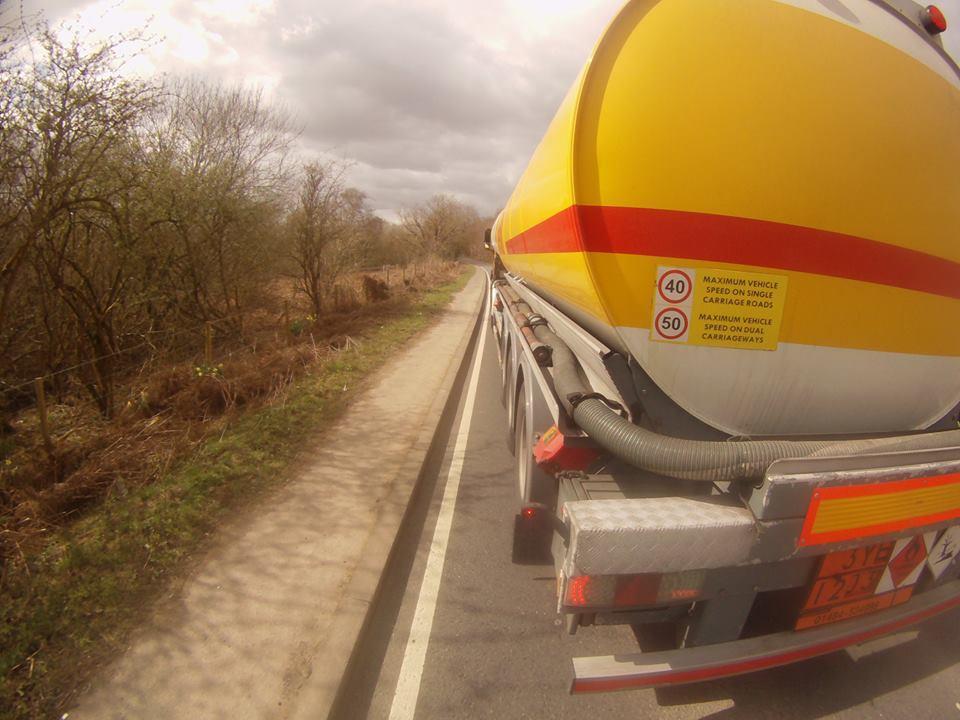 Shell Tanker Dangerous Overtaking Bike