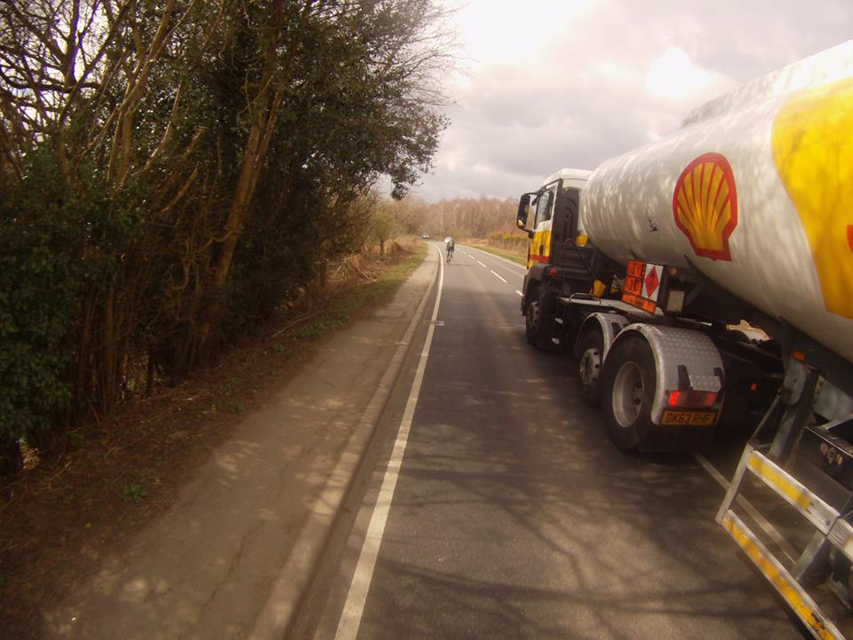 Shell Tanker Dangerous Overtaking Bike