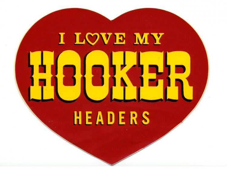I Love My Hooker Headers Vintage Racing Logo Decal