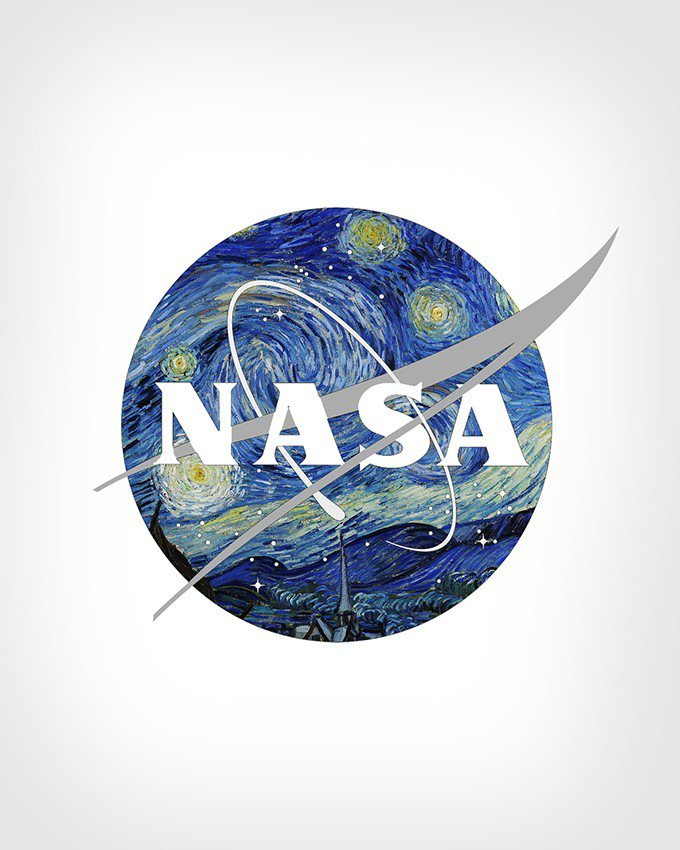 NASA Logo (National Aeronautics and Space Administration) + The Starry Night by Vincent Van Gogh