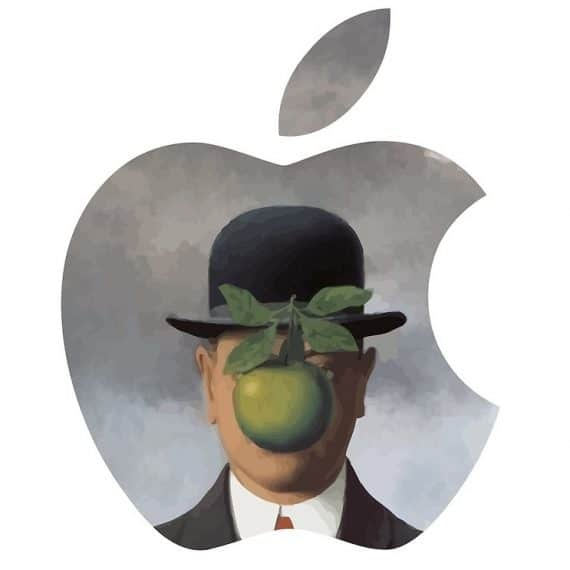 Apple Logo + 'The Son of Man' by René Magritte