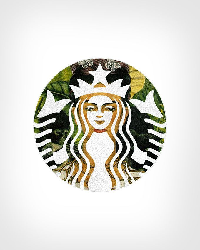 Starbucks Logo + 'Self-portrait with Thorn Necklace and Hummingbird' by Frida Kahlo