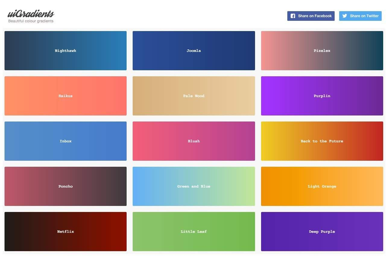 UIGradients Colour Gradients for Designers