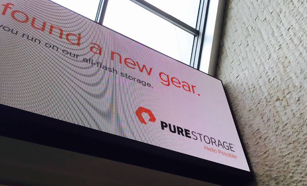 Pure Storage Logo on LCD Sign at JFK Airport