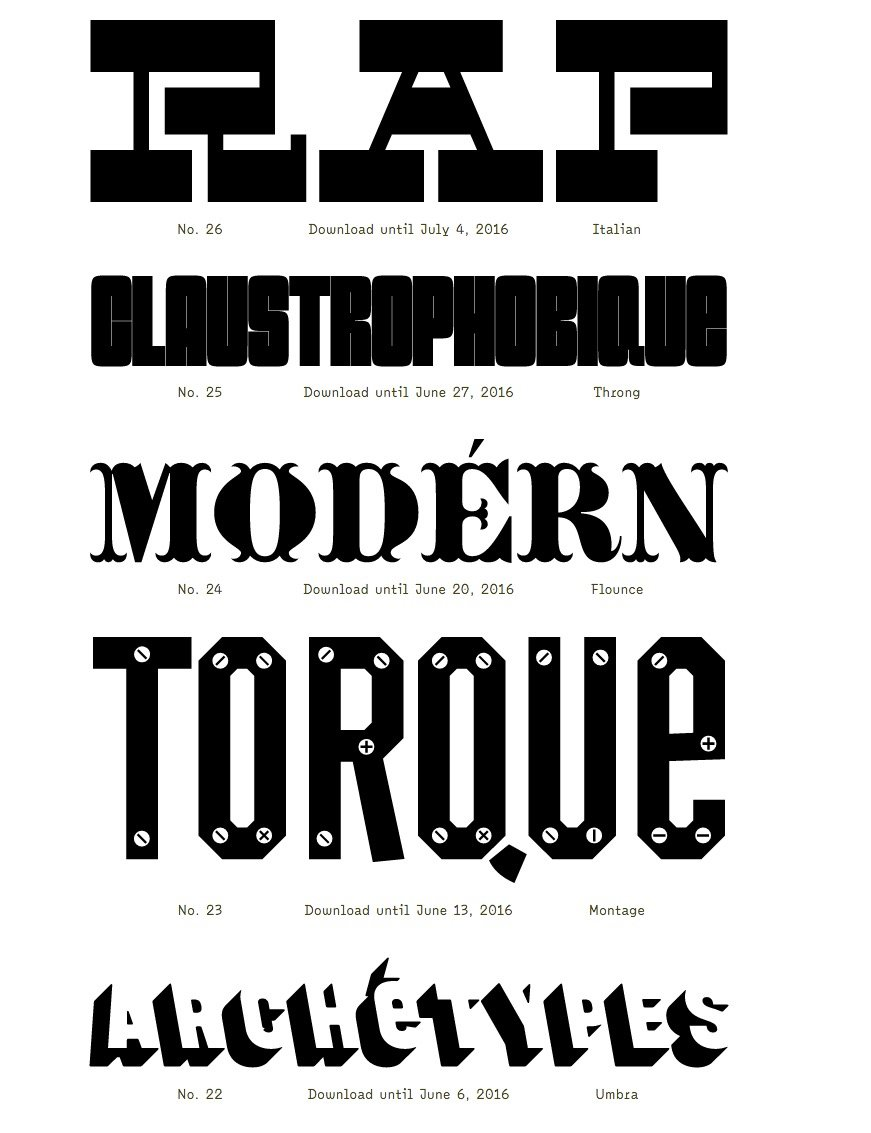 Specimens of Digital Typefaces by The Pyte Foundry