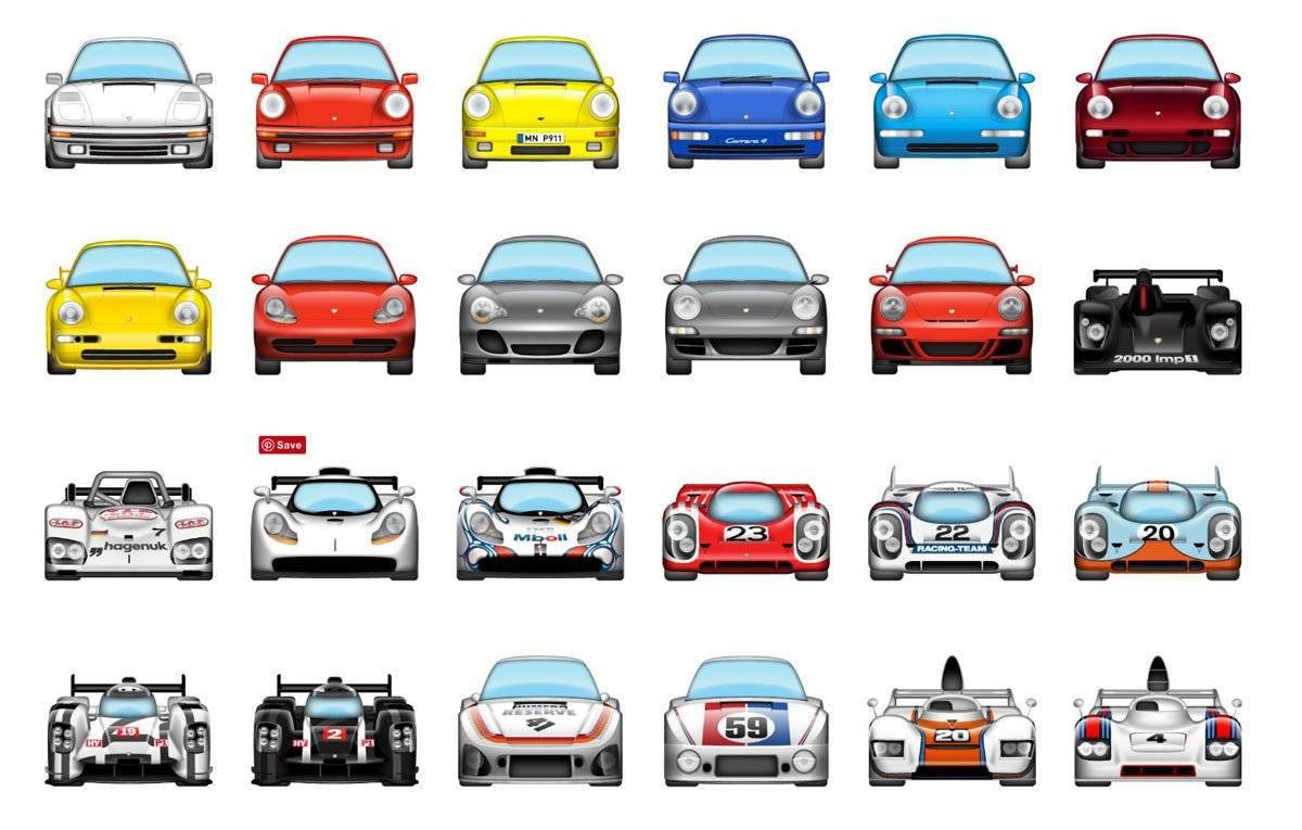Automoji for Porsche. An iMessage sticker pack for iOS 10.