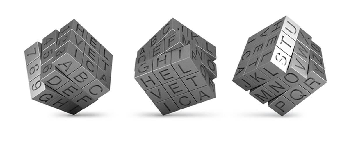 Helvetica Rubik's Cube