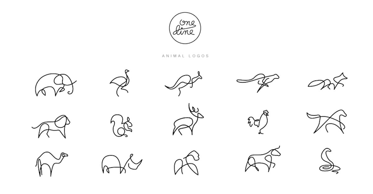 Line Drawings Animals Wildlife : One line animal logos gracefully drawn by dft differantly