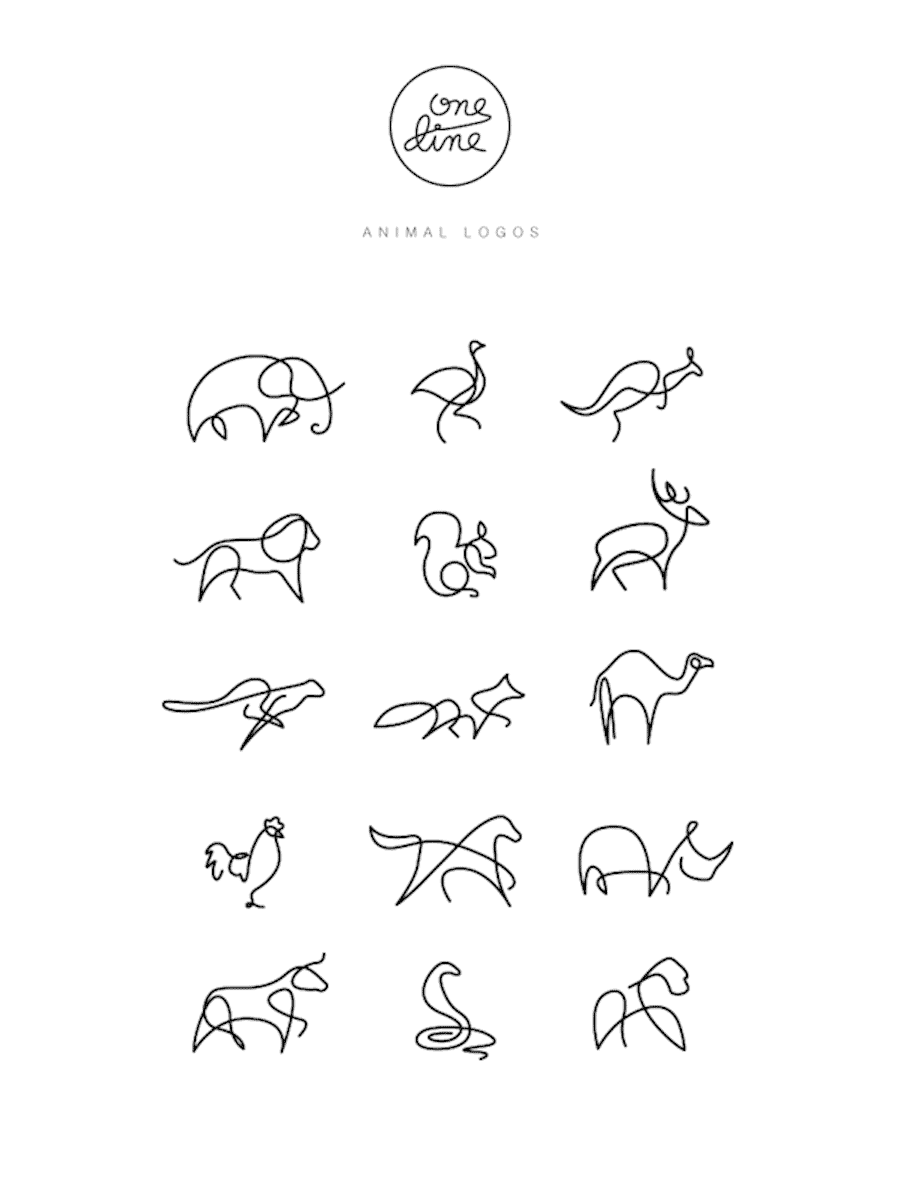 one-line-animals-logos