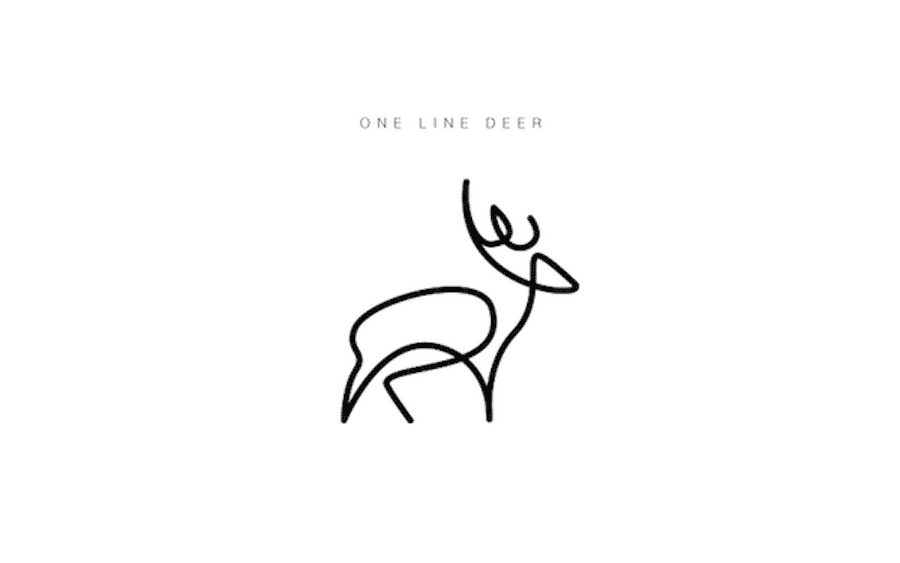 one line animal logos deer