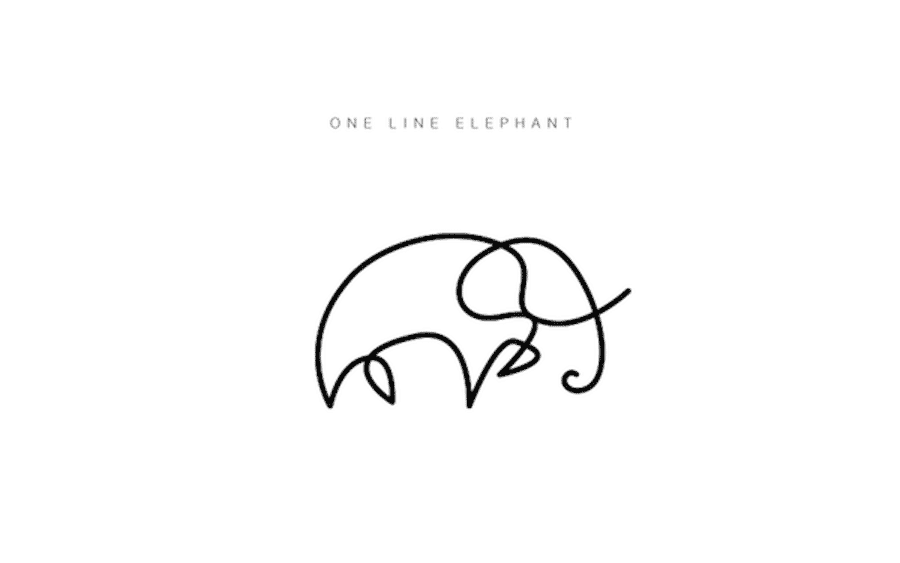 one-line-elephant-logo-design