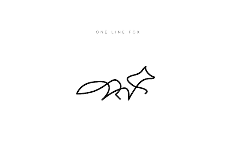 one line animal logos fox